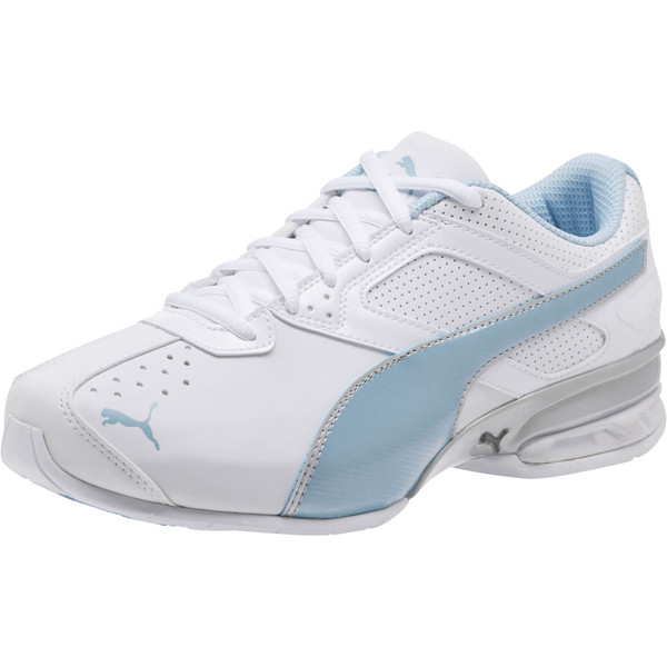 Tazon 6 Wide Women's Sneakers, White-CERULEAN-Silver, large