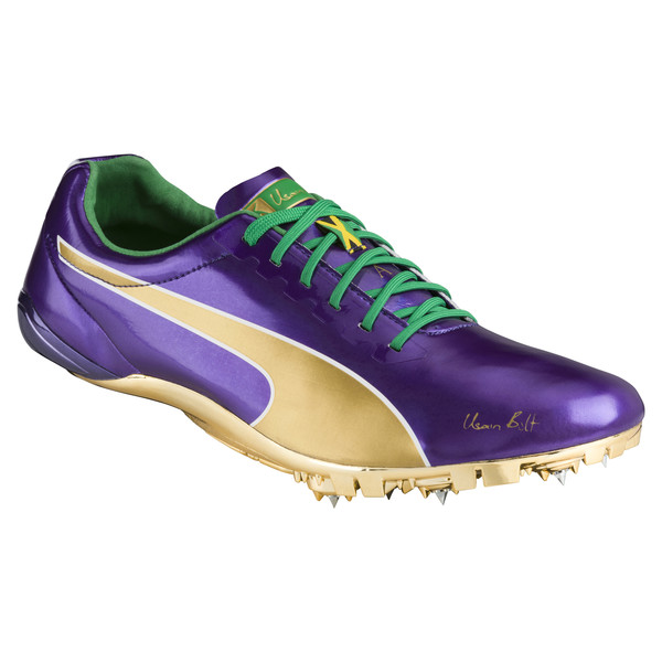 Bolt evoSPEED Electric Legacy Spike Shoes, Violet Indigo-Jelly Bean, large