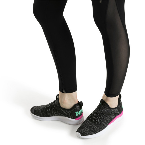 Zapatillas de running de mujer IGNITE Flash evoKNIT, Black-PINK-Biscay Green, grande