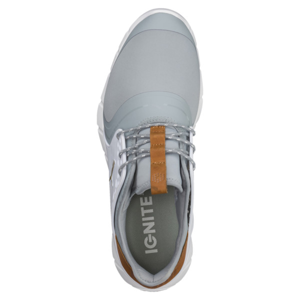 IGNITE PWRSPORT Men's Golf Shoes, Quarry-Gold-White, large