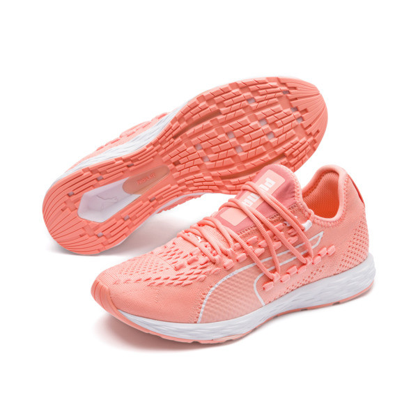 SPEED RACER Women's Running Shoes, Bright Peach-Peach Bud-White, large