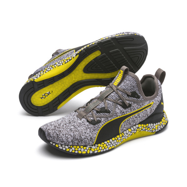 HYBRID Runner Men's Running Shoes, Black-White-Blazing Yellow, large
