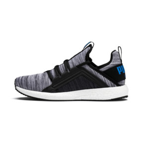 Thumbnail 1 of Mega Energy Heather Knit Kids' Running Shoes, Black-White-Indigo Bunting, medium