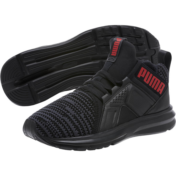 Enzo Bold Knit Sneakers JR, Puma Black-Asphalt, large