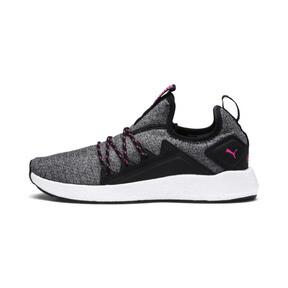 Thumbnail 1 of NRGY Neko Knit Women's Running Shoes, Puma Black-KNOCKOUT PINK, medium