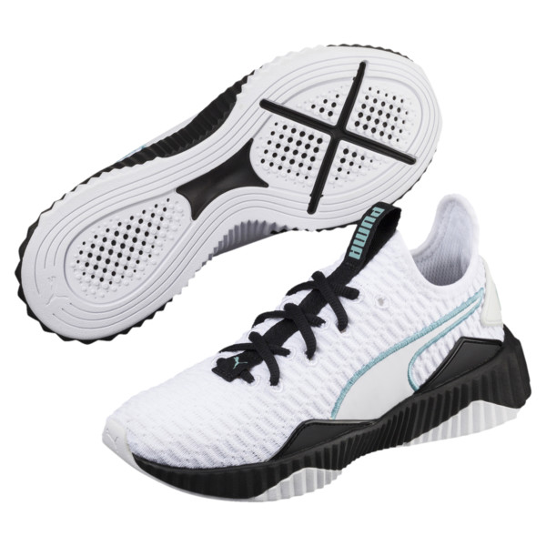 Defy Girls' Trainers, White-Black-Aquifer, large