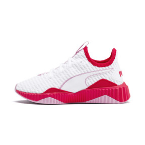 Thumbnail 1 of Defy Girls' Trainers, White-Hibiscus -Pale Pink, medium