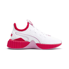 Thumbnail 5 of Defy Girls' Trainers, White-Hibiscus -Pale Pink, medium