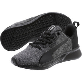 Thumbnail 2 of Tishatsu Runner Knit Little Kids' Shoes, Puma Black-Puma White, medium