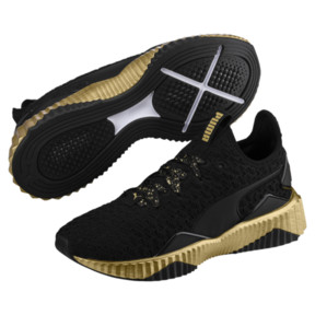 Thumbnail 2 of Defy Sparkle Wn's, Puma Black-Puma Team Gold, medium