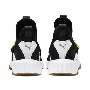 Thumbnail 4 of Defy Varsity Mid Women's Trainers, Puma Black-Metallic Gold, medium