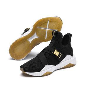 Thumbnail 2 of Defy Varsity Mid Damen Sneaker, Puma Black-Metallic Gold, medium