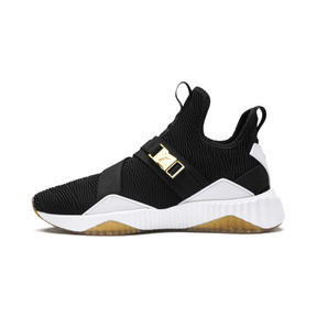 Thumbnail 1 of Defy Varsity Mid Women's Trainers, Puma Black-Metallic Gold, medium
