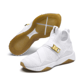 Thumbnail 2 of Defy Varsity Mid Women's Trainers, Puma White-Metallic Gold, medium