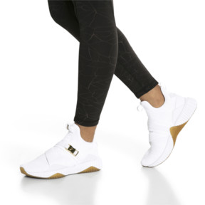 Thumbnail 7 of Defy Varsity Mid Women's Trainers, Puma White-Metallic Gold, medium