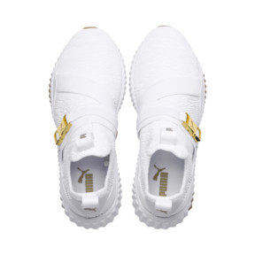 Thumbnail 6 of Defy Varsity Mid Women's Trainers, Puma White-Metallic Gold, medium