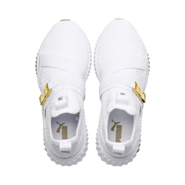 Defy Varsity Mid Women's Trainers, Puma White-Metallic Gold, large