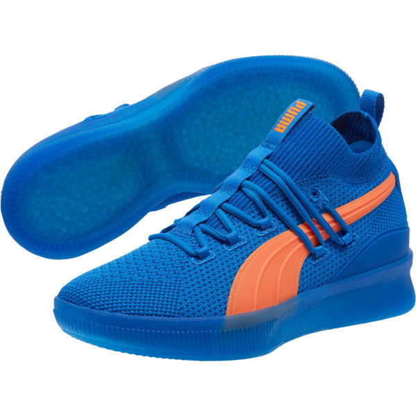 Clyde Court Core Basketball Shoes, Strong Blue-Shocking Orange, large
