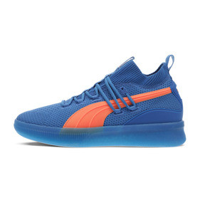 Thumbnail 1 of Clyde Court Core Basketball Shoes, Strong Blue-Shocking Orange, medium