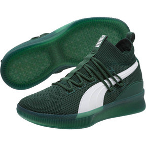 Thumbnail 2 of Clyde Court Core Basketball Shoes, Dark Green-Puma White, medium