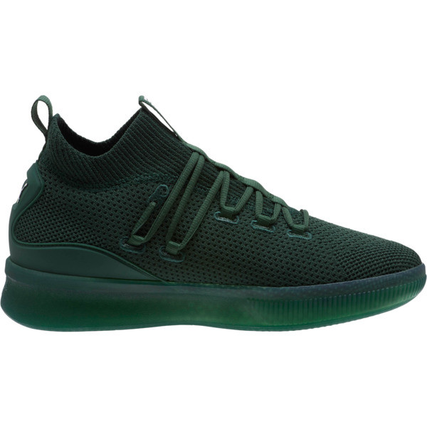 Clyde Court Core Basketball Shoes, Dark Green-Puma White, large