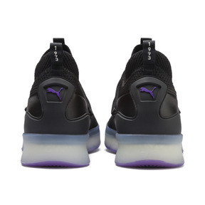 Thumbnail 4 of Clyde Court Disrupt Men's Basketball Shoes, Puma Black-ELECTRIC PURPLE, medium