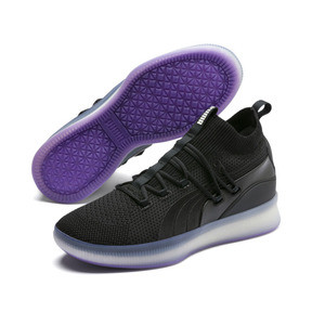 Thumbnail 2 of Clyde Court Disrupt Men's Basketball Shoes, Puma Black-ELECTRIC PURPLE, medium