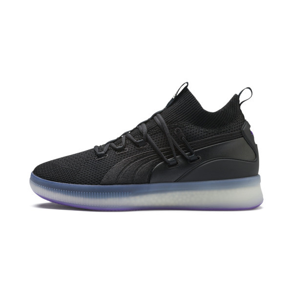 Clyde Court Disrupt basketball-schoenen voor mannen, Puma Black-ELECTRIC PURPLE, large