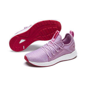 Thumbnail 2 of NRGY Neko Knitted Youth Trainers, Pale Pink-White-Hibiscus, medium