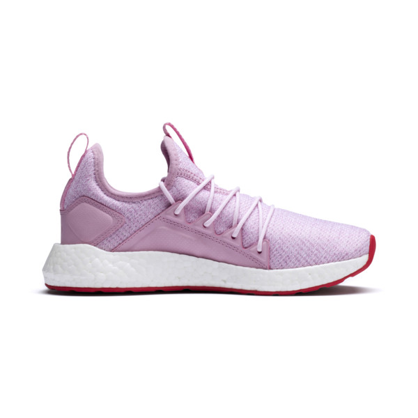 NRGY Neko Knitted Youth Trainers, Pale Pink-White-Hibiscus, large