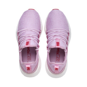 Thumbnail 6 of NRGY Neko Knitted Youth Trainers, Pale Pink-White-Hibiscus, medium