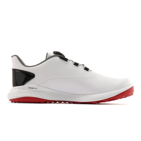 ゴルフ グリップフュージョン ディスク スパイクレスシューズ, White-High Risk Red, large-JPN
