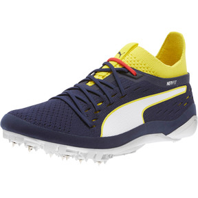 Thumbnail 1 of evoSPEED NETFIT Sprint 2 Men's Track Spikes, Blazing Yellow-Peacoat-White, medium