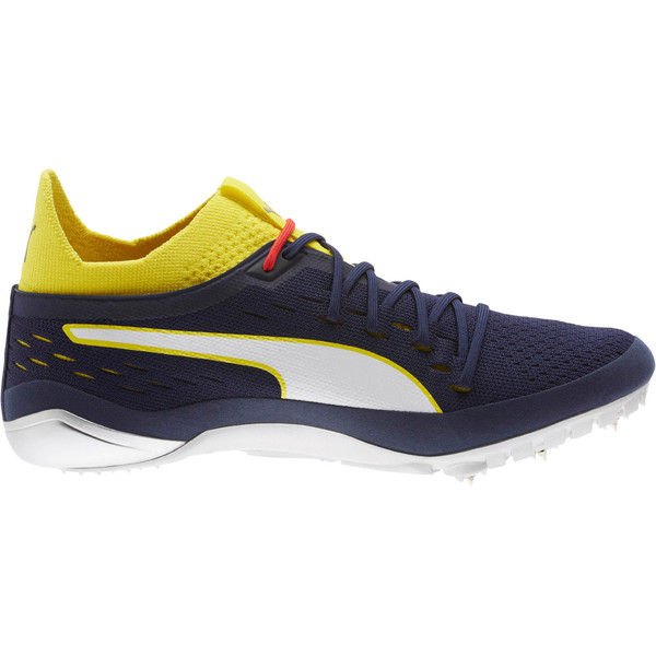 evoSPEED NETFIT Sprint 2 Men's Track Spikes, Blazing Yellow-Peacoat-White, large