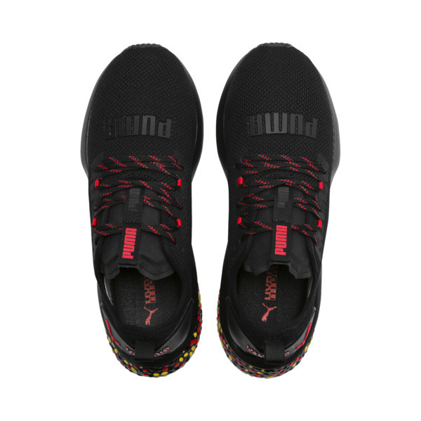 HYBRID NX Men's Running Shoes, Black-Red-Yellow, large