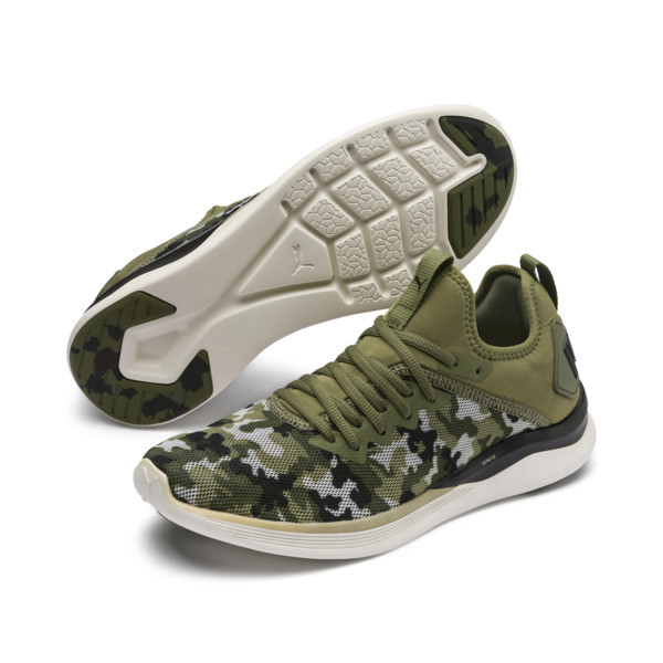 IGNITE Flash Camouflage Men's Running Shoes, Olivine-Black-Whisper White, large