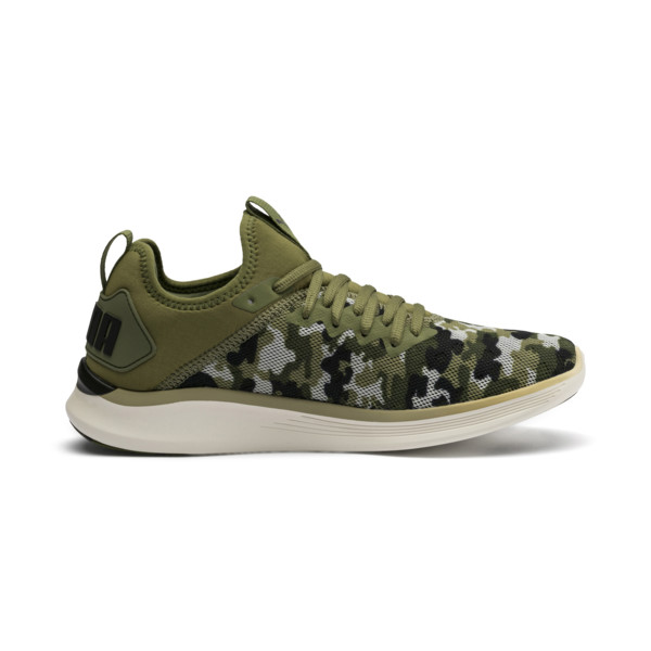 Chaussure de course IGNITE Flash Camouflage pour homme, Olivine-Black-Whisper White, large