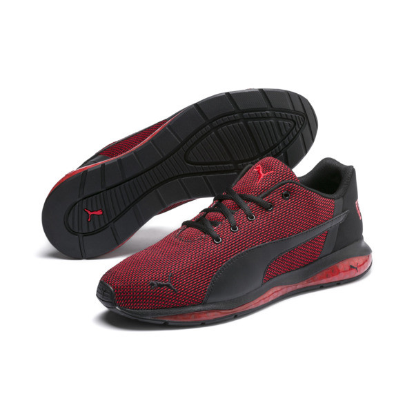 Cell Ultimate Point Knitted Men's Running Shoes, Puma Black-High Risk Red, large
