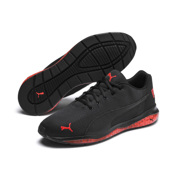 Cell Ultimate Point Knitted Herren Laufschuhe, Puma Black-Nrgy Red, large