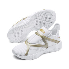 Thumbnail 2 of Defy Cage Women's Trainers, Puma White-Gold, medium
