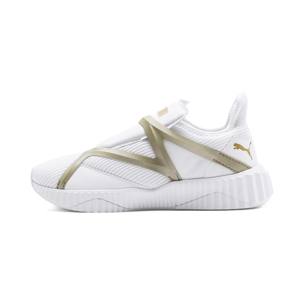 Defy Cage Women's Trainers, Puma White-Gold, large