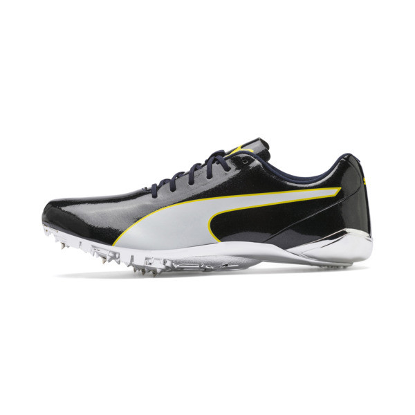 evoSPEED Electric 7 Sprint Track Spikes, Black-Blazing Yellow-White, large