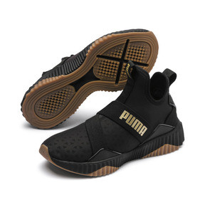 Thumbnail 3 of Defy Mid Sparkle Women's Trainers, Puma Black-Metallic Gold, medium