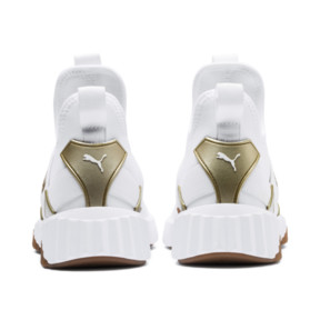 Thumbnail 4 of Defy Mid Sparkle Women's Trainers, Puma White-Metallic Gold, medium