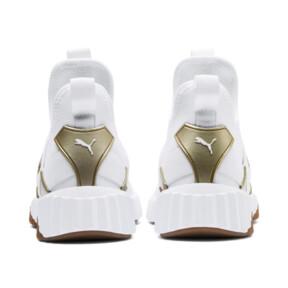 Thumbnail 4 of Defy Mid Sparkle Women's Training Shoes, Puma White-Metallic Gold, medium