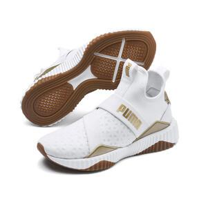 Thumbnail 3 of Defy Mid Sparkle Women's Training Shoes, Puma White-Metallic Gold, medium