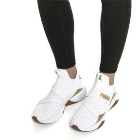 Thumbnail 2 of Defy Mid Sparkle Women's Training Shoes, Puma White-Metallic Gold, medium