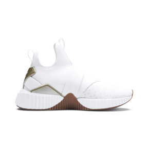 Thumbnail 6 of Defy Mid Sparkle Women's Training Shoes, Puma White-Metallic Gold, medium
