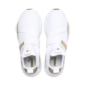 Thumbnail 7 of Defy Mid Sparkle Women's Trainers, Puma White-Metallic Gold, medium