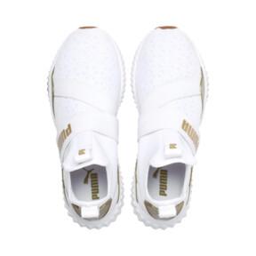 Thumbnail 7 of Defy Mid Sparkle Women's Training Shoes, Puma White-Metallic Gold, medium